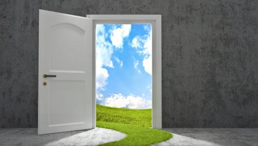 open door to bright outdoor scene