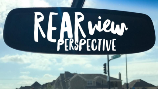rearview mirror with words: rearview perspective
