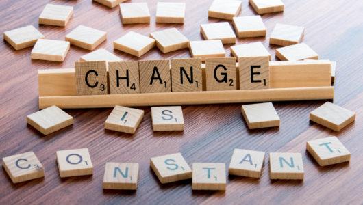 Scrabble Word Game wood tiles spelling CHANGE IS CONSTANT