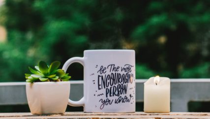 mug with inscription: be the most encouraging person you know