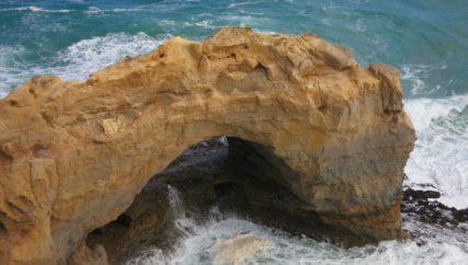 rock outcrop worn by tide
