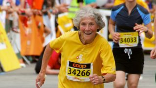 The Oldest Athlete, Arriving at the Finish Line! Taken at the Women's Running Competition in Berne, Switzerland.