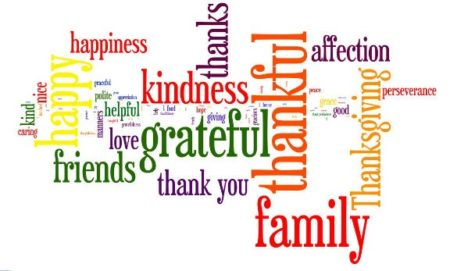 Word cloud made up of gratitude words