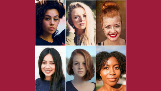 6 women with different hair types