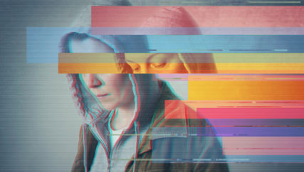 Depression. Glitched style photo.