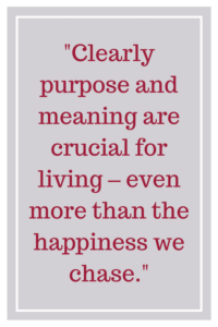 Clearly, purpose and meaning are crucial for living – even more than the happiness we chase.