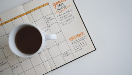 Planner open to November with goals listed for month