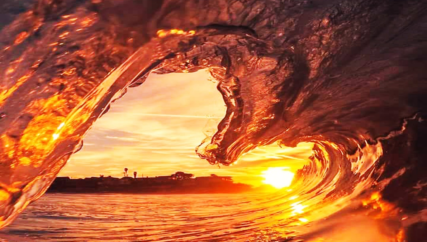 looking out from the inside of a wave that looks like a heart