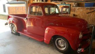 Old red Chevrolet truck