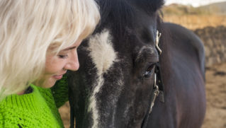 Animal therapy, woman with horse